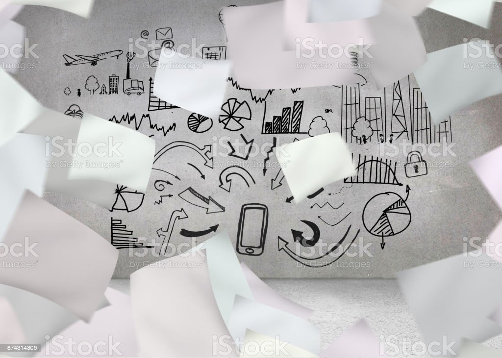 White paper in front of grey wall with graphic stock photo