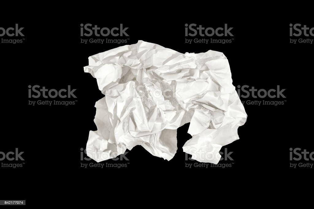 White paper isolated on black background. stock photo