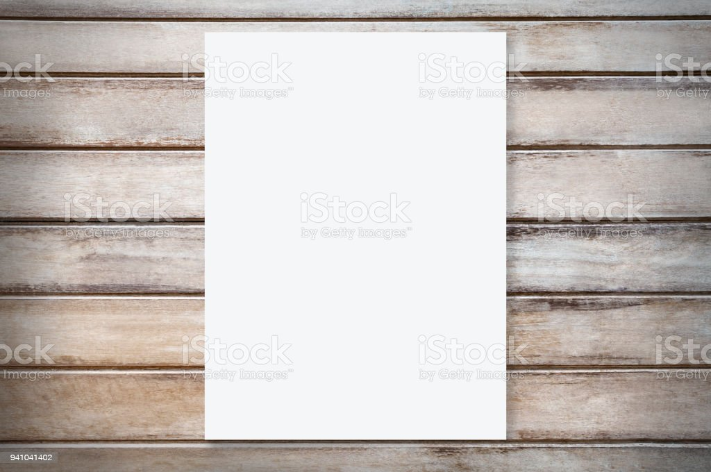 White Paper Mockup Template On Wood Background Stock Photo & More ...