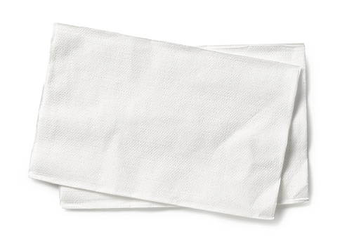 white paper napkins isolated on white background, top view