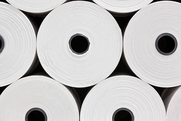 white papier rolls - papierrollen stock-fotos und bilder