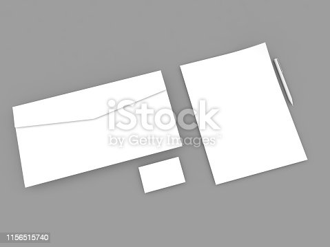 istock White paper sheet envelope business card and pen . 1156515740