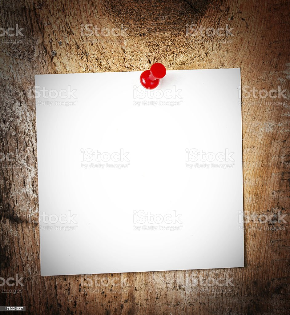 White paper sticky note reminder With red Push Pin royalty-free stock photo