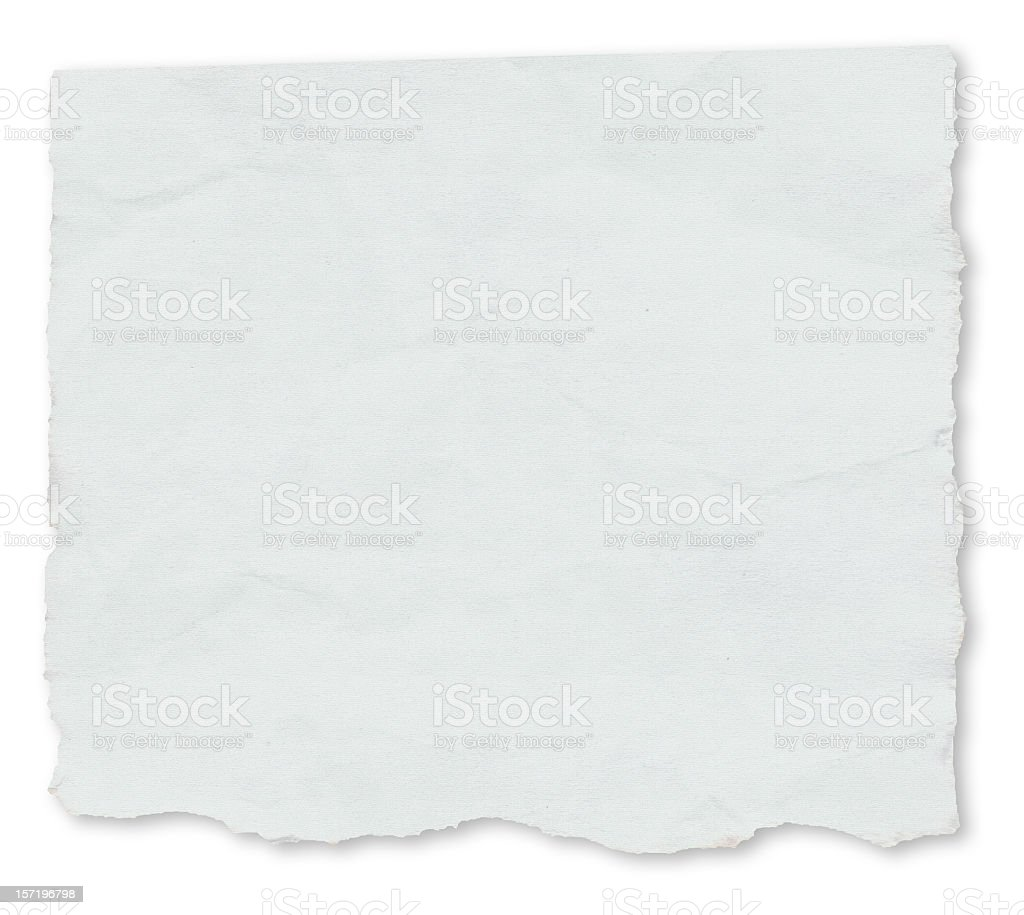 White paper torn on a white background royalty-free stock photo