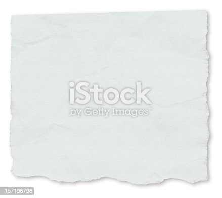 A blank, individual newspaper tear isolated on a white background, with drop shadow.