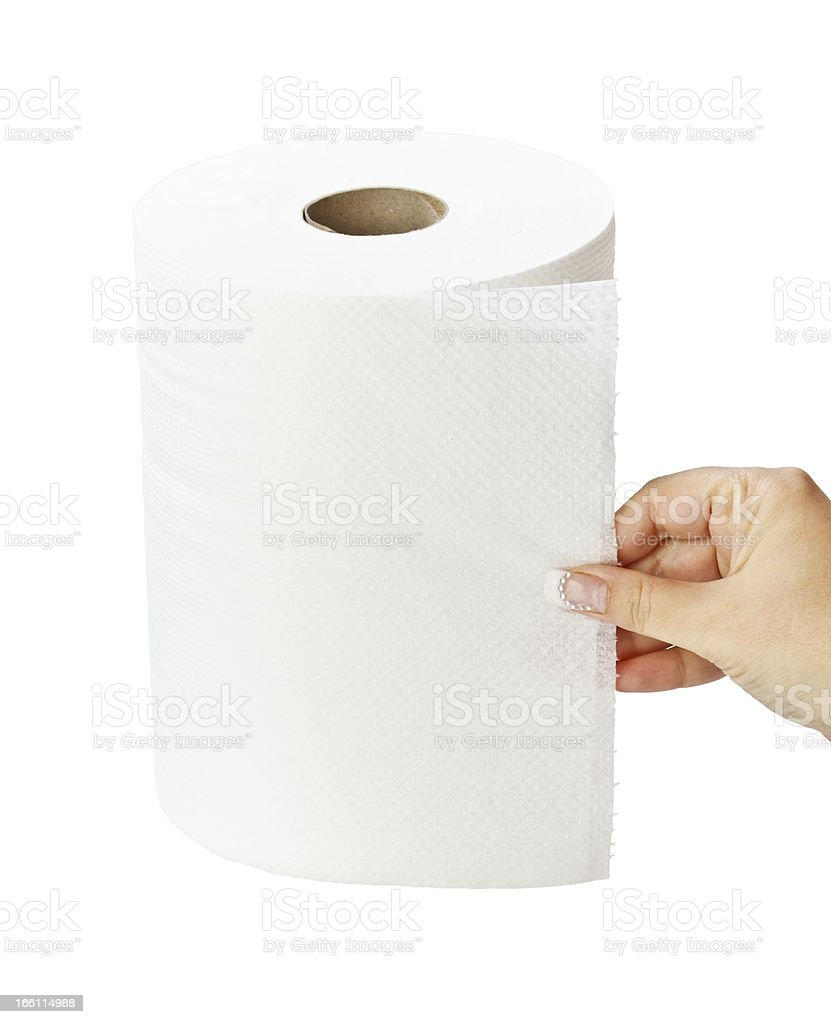 White paper towel roll stock photo