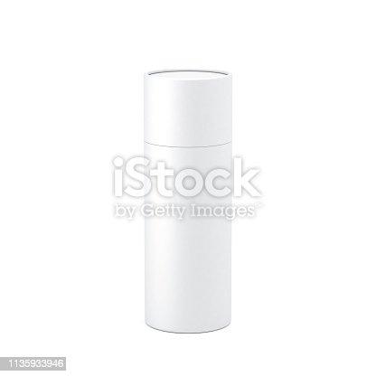 White paper tube tin can Mockup, 3d rendering