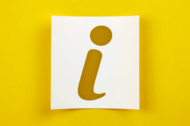 White Paper With Info Symbol On Yellow Background White Paper With Info Symbol On Yellow Background information sign stock pictures, royalty-free photos & images