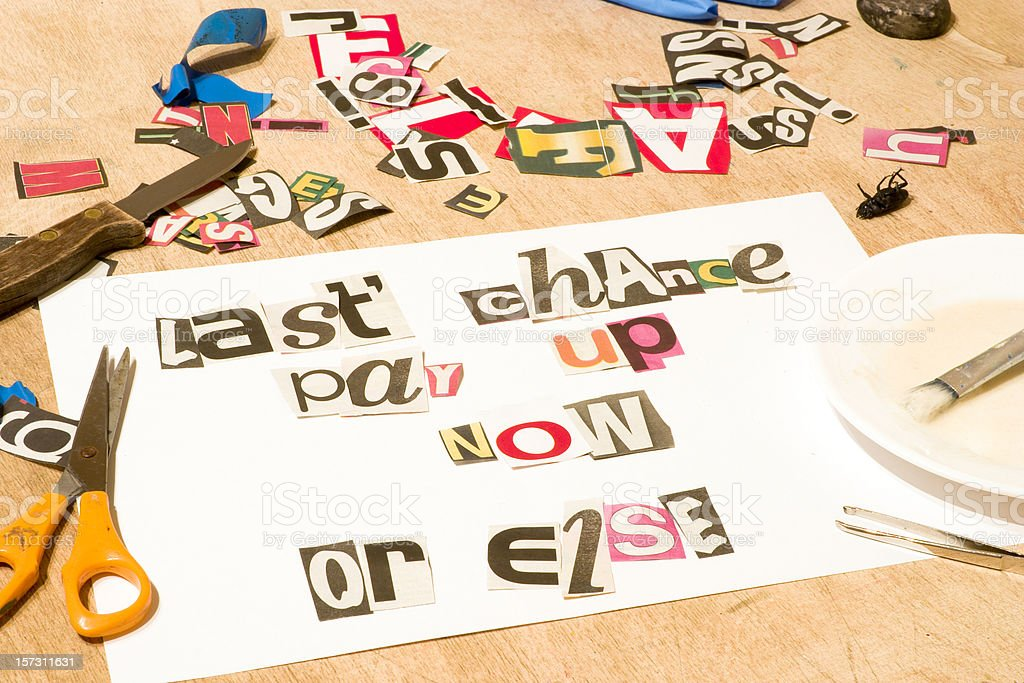 A white paper with magazine clips forming words blackmail [url=file_closeup.php?id=4939892][img]file_thumbview_approve.php?size=1&id=4939892[/img][/url] [url=file_closeup.php?id=4939761][img]file_thumbview_approve.php?size=1&id=4939761[/img][/url] Bribing Stock Photo