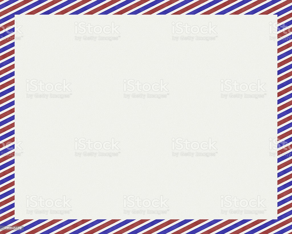 White paper with red and blue stripe border stock photo