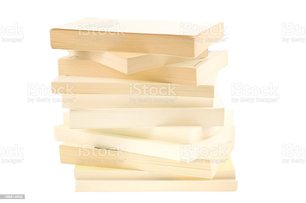 white paperback books with copyspace royalty-free stock photo