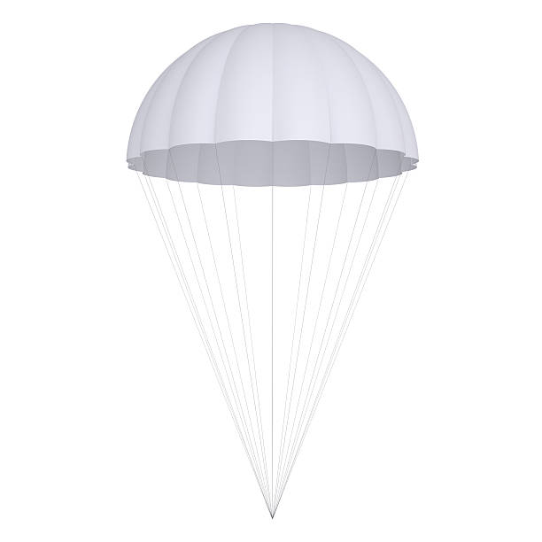 White parachute White parachute. Isolated render on a white background parachuting stock pictures, royalty-free photos & images