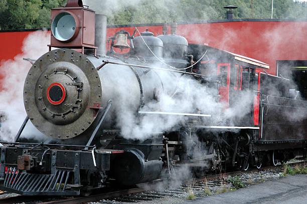 White Pass Railroad steam engine,Skagway,Alaska. stock photo