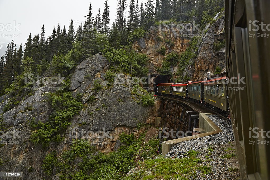 White Pass Railway Train Winds Into Tunnel royalty-free stock photo