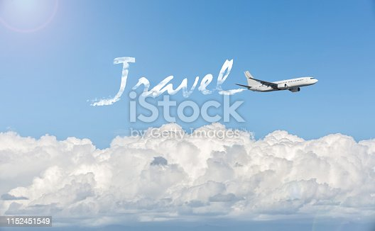 155380716istockphoto White passenger aircraft flying over clouds 1152451549