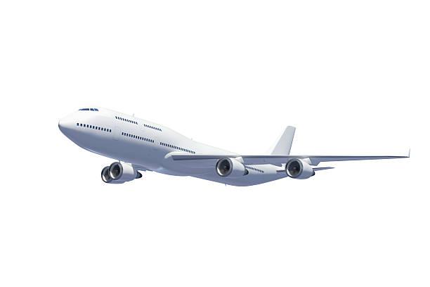 Weiße Passagier Flugzeug, isoliert auf weißem Hintergrund Mit clipping path – Foto