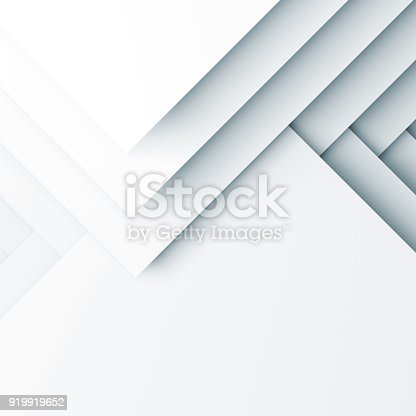 Abstract white digital background, geometric pattern of layers. Square 3d render