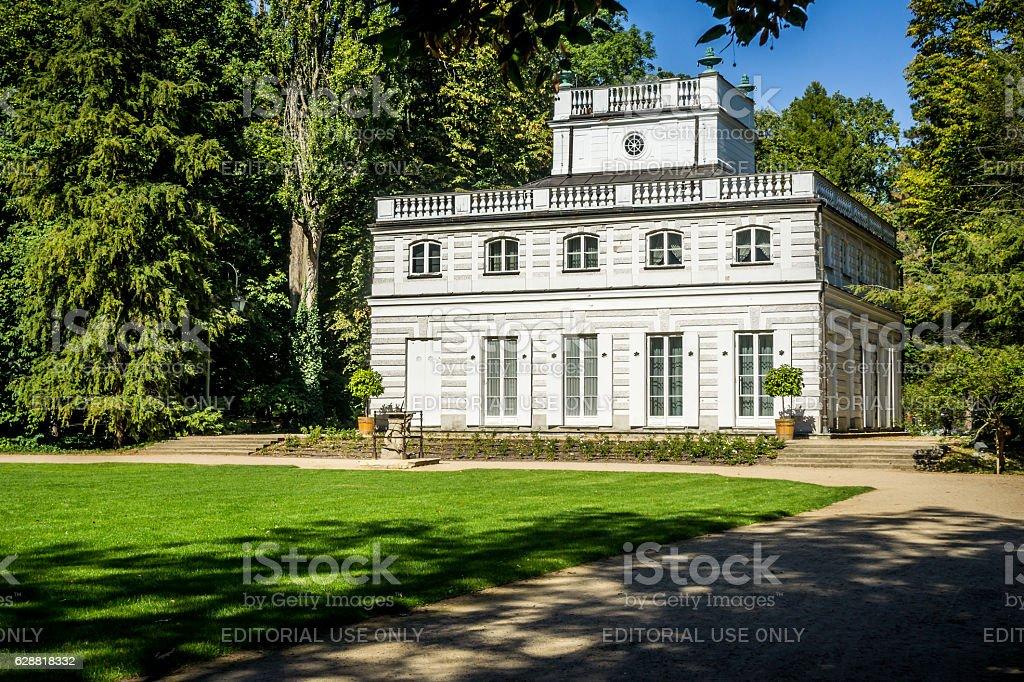 White Pavilion in Lazienki Park, Warsaw stock photo