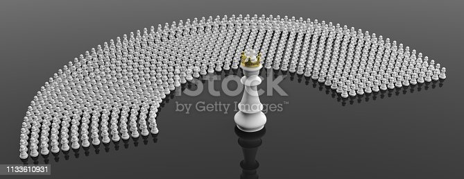 istock White pawns and a chess king on black color background, banner. 3d illustration 1133610931