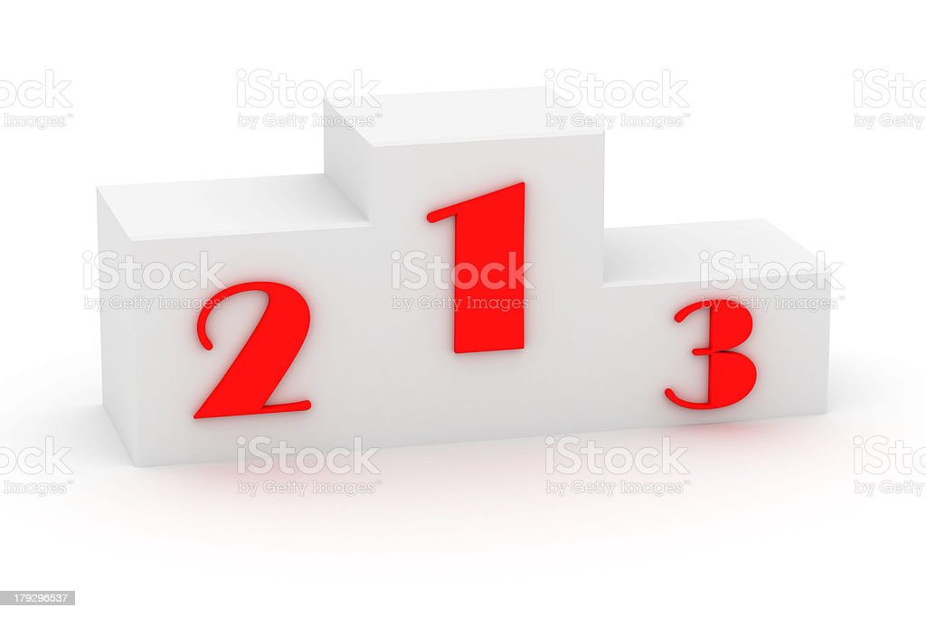 White pedestal with red numerals royalty-free stock photo