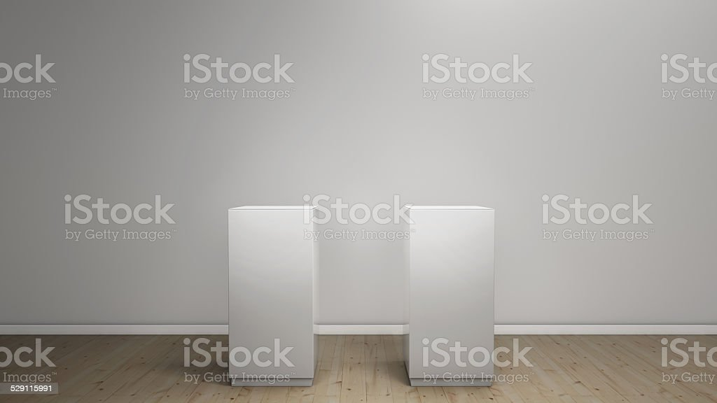 white pedestals stock photo