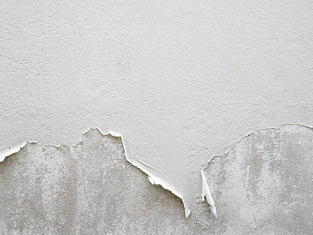 white peeling paint wall - peeling off stock photos and pictures