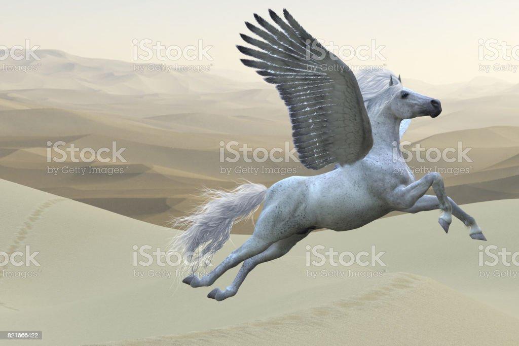 White Pegasus Horse stock photo