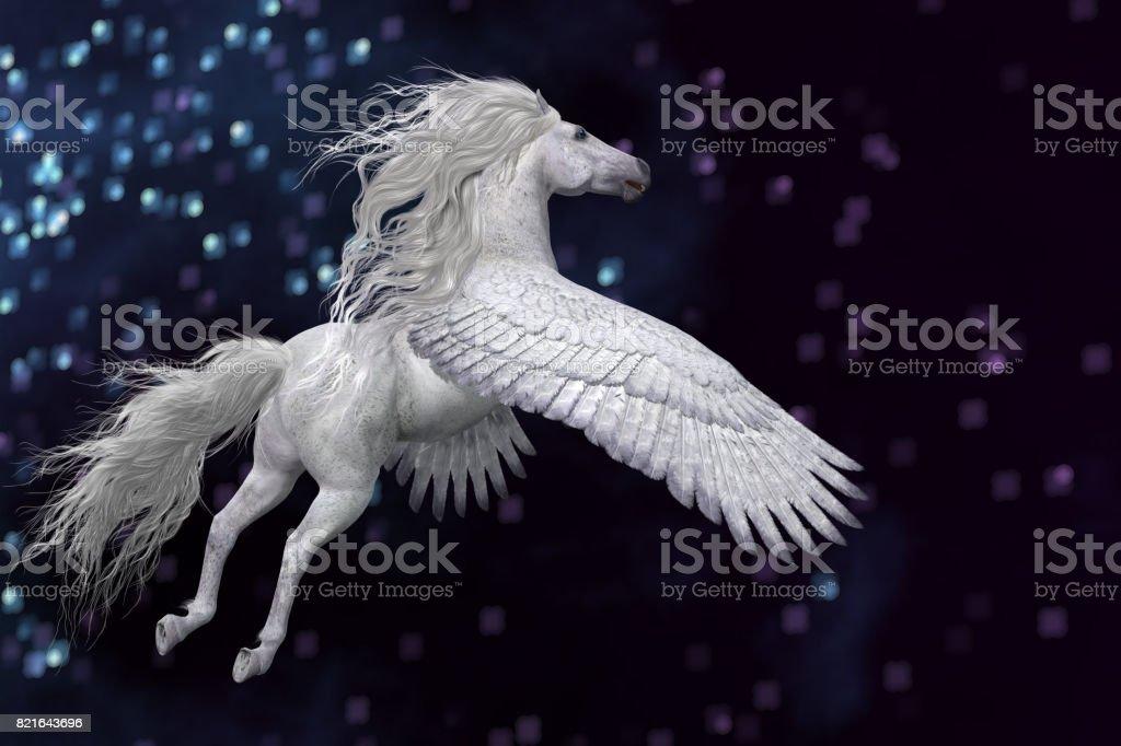 White Pegasus in Sky stock photo
