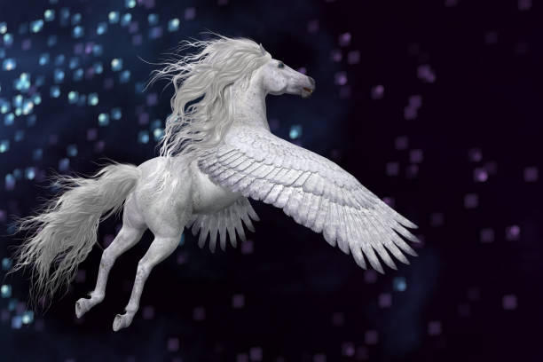 white pegasus in sky - pegasus stock photos and pictures