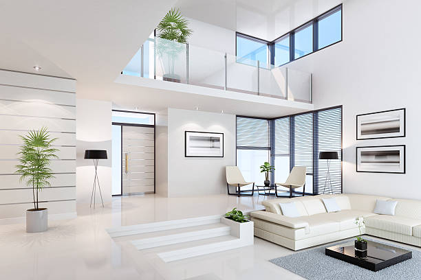 White Penthouse Interior Luxury white interior. villa stock pictures, royalty-free photos & images