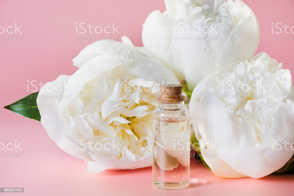 White Peony Flower And Bottle With Oil Or Essence On White Close Up