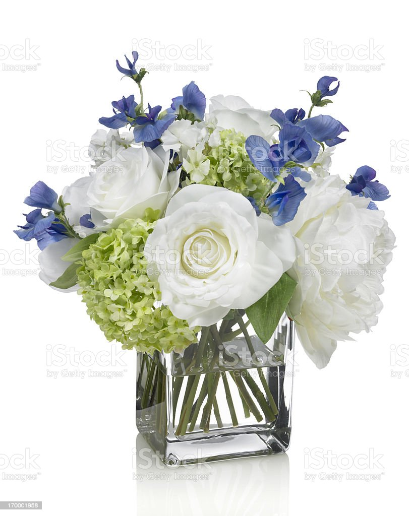 White peony, hydrangea and sweetpea bouquet on white background stock photo