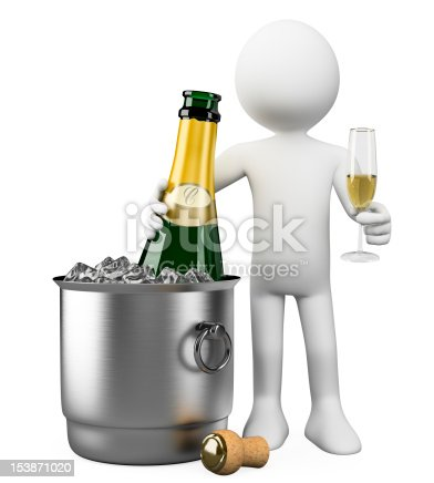 istock 3D white people. Bottle of champagne in bucket 153871020