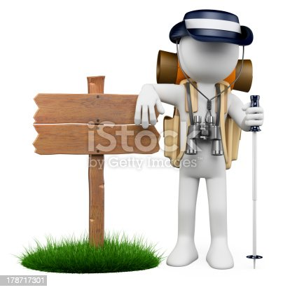 istock 3D white people. Hiker with wooden sign 178717301