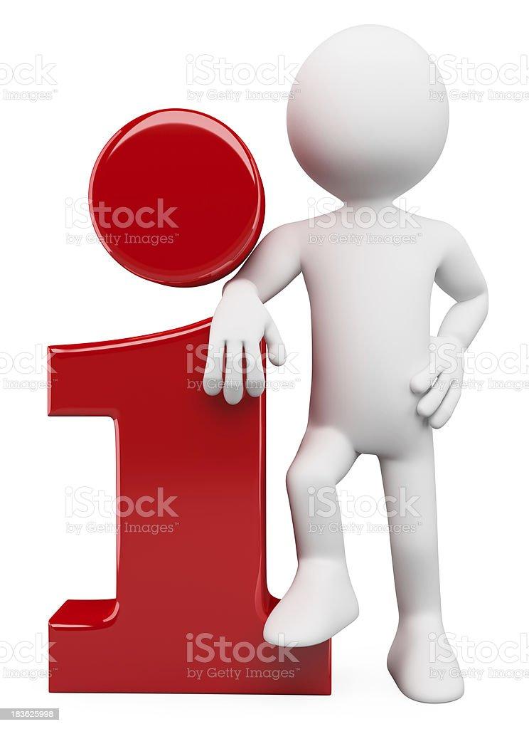 3D white people. Info icon royalty-free stock photo