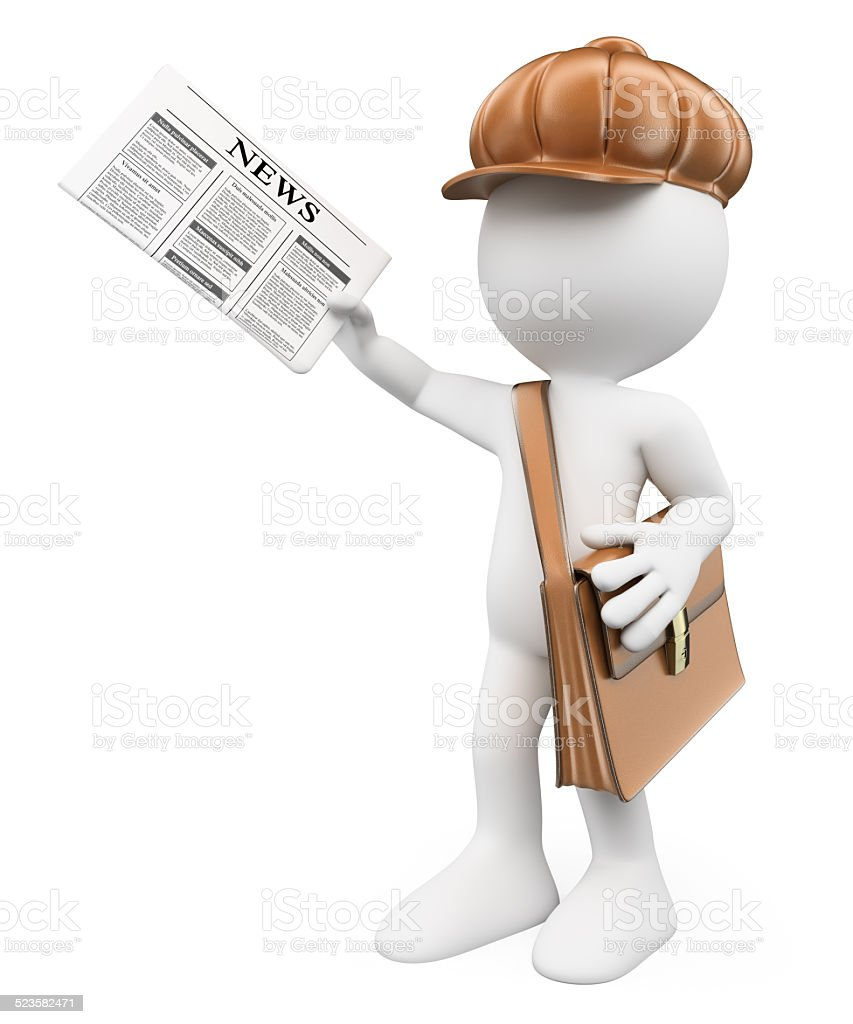 3D white people. Latest news concept. Paperboy stock photo