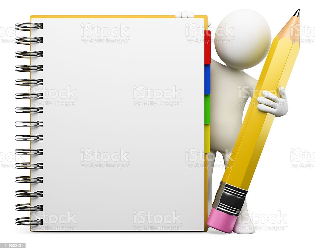 3D white people. Notepad stock photo