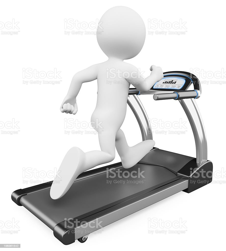 3D white people. Running on a treadmill royalty-free stock photo