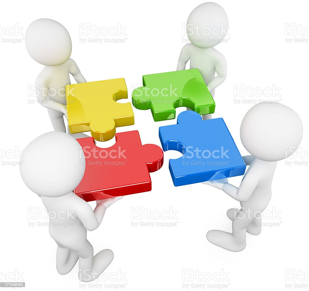 3D white people. Team with puzzle stock photo