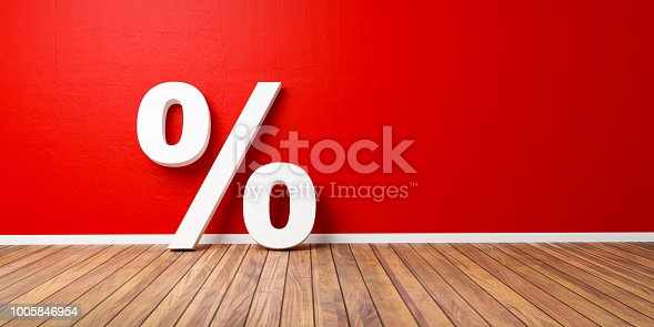 istock White Percent Sign on Brown Wooden Floor Against Red Wall - Sale Concept - 3D Illustration 1005846954