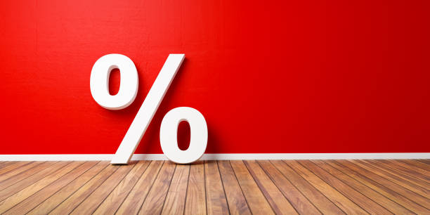 White Percent Sign on Brown Wooden Floor Against Red Wall - Sale Concept - 3D Illustration stock photo