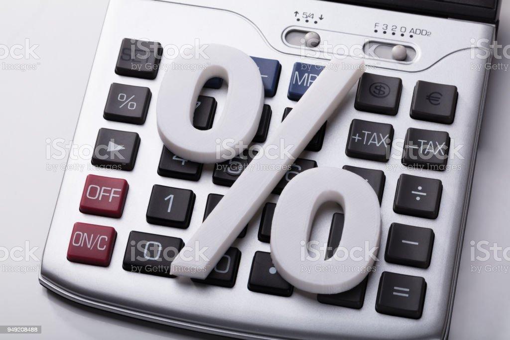 White Percentage Sign On Calculator stock photo