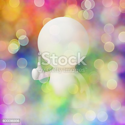 471353682 istock photo white person with thumbs up surrounded by colourful bokeh effects 600096936