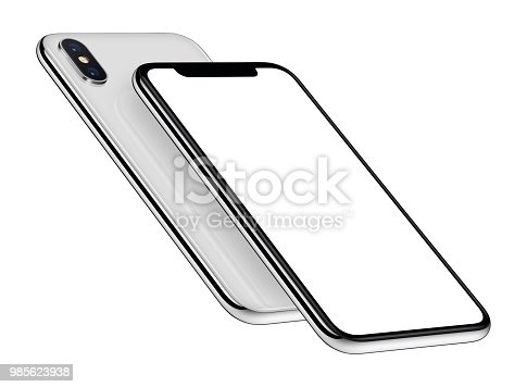 istock White perspective smartphones mockup front and back sides one above the other 985623938