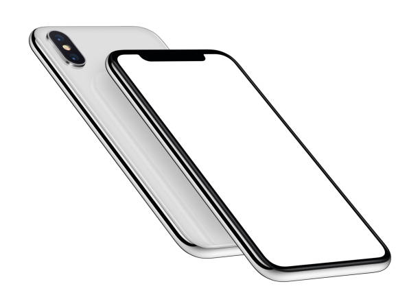 White perspective smartphones mockup front and back sides one above the other stock photo