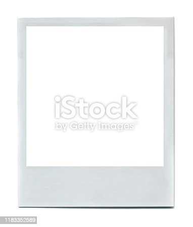 1183352589 istock photo White photo frame. Old style photo picture for design 1183352589