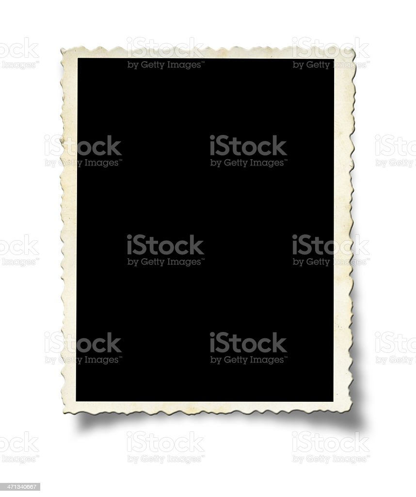 A white photo frame on a white wall stock photo