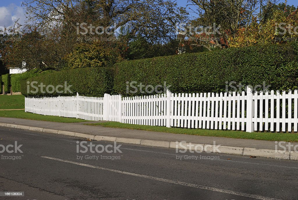 White picket fence and hedge. Surrey. England royalty-free stock photo