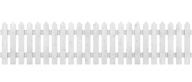 Picket Fence Isolated on White.