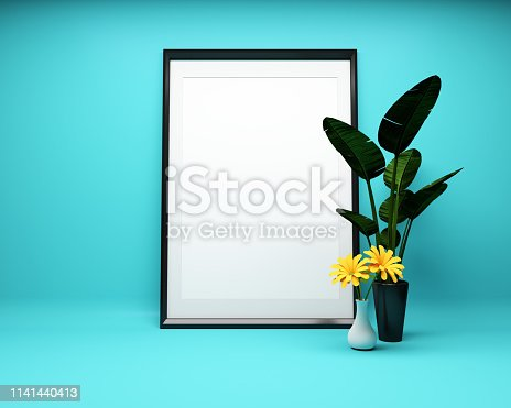1141440440 istock photo White picture frame background with plant Mock up. 3D rendering 1141440413